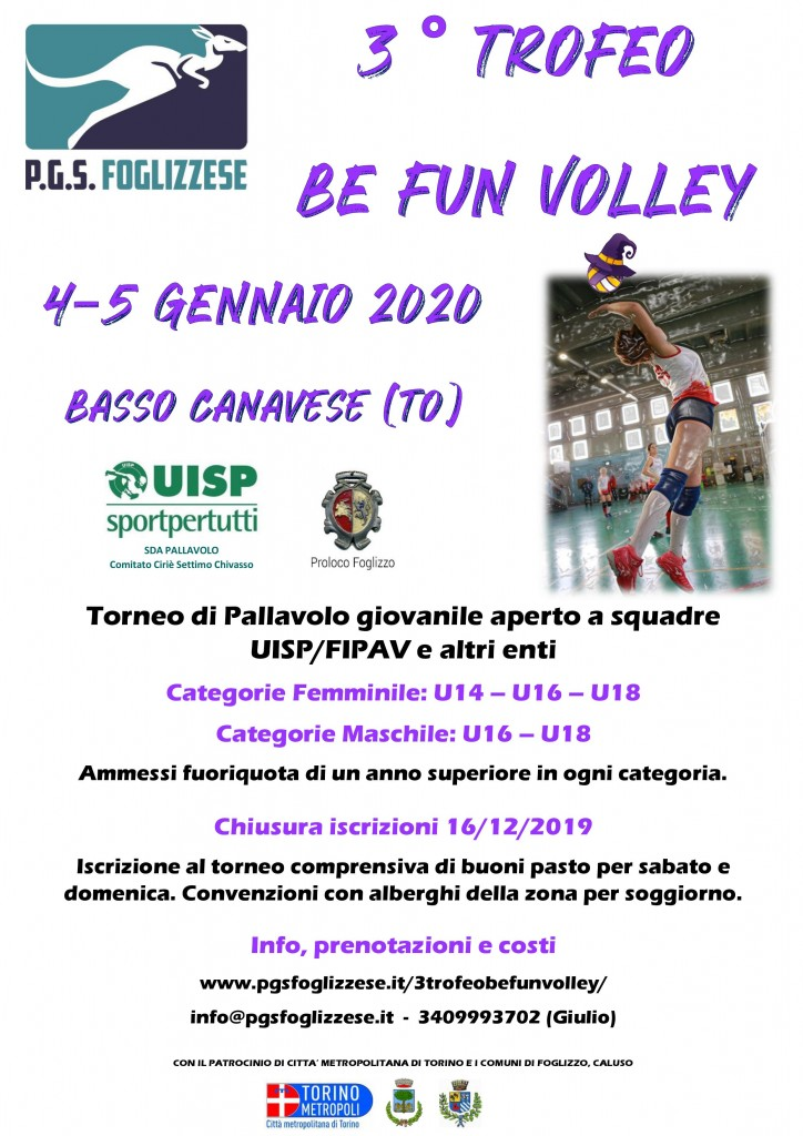 Locandina 3° Trofeo BE FUN Volley 2020